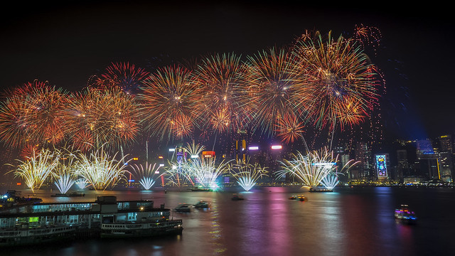 Hong Kong fireworks Victoria Cruises