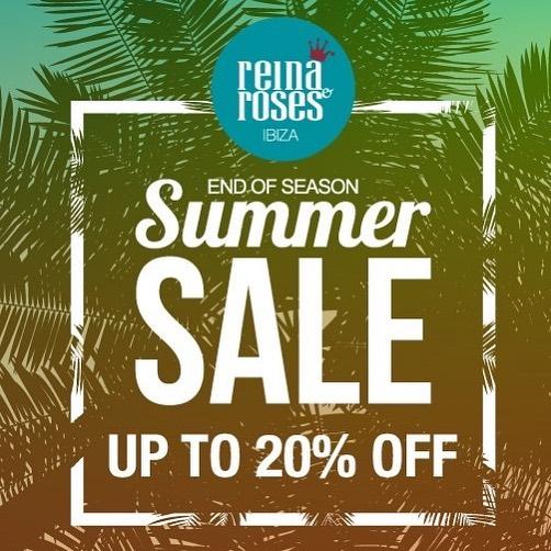 ☀️🌴💸👑 SUMMER SALE +++ REBAJAS 👑🌹🌊🏖 Reina & Roses summer sales starting now! Up to 20% on selected styles at our shops Santa Eulária (KM 2.7, P810), San José de sa Talaia and Cala Bassa Beach Club. See you! 👑🌹🌊🏖 SUMMER SALE +++ REBAJAS☀️🌴💸👑