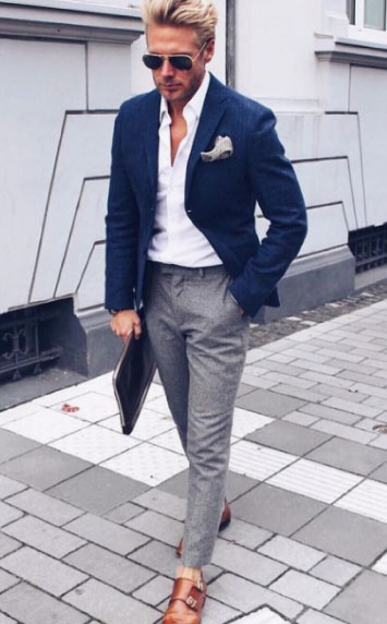 Just add light grey socks and do the shirt up by another button or 2!
