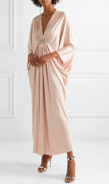 Reem Acra @ Net A Porter £2,345  This silk jersey dress suits all figure types and is great for those not wanting to show the tops of their arms. Best worn with an updo hairstyle.