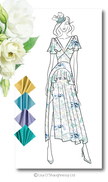 Printed or solid colour silk crepe dress for a country wedding.