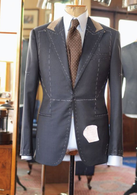 Bespoke suit jacket in the process of being made.