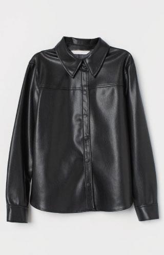 H&M imitation leather shirt.