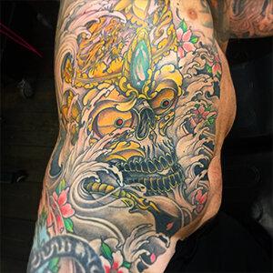 Voorbeeld van een Japanse tattoo gezet door Maarten