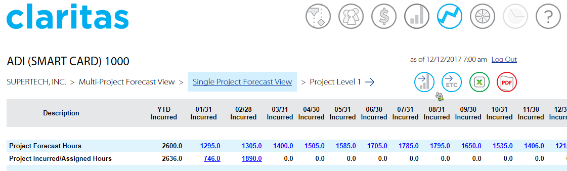 Single Project Forecast View.