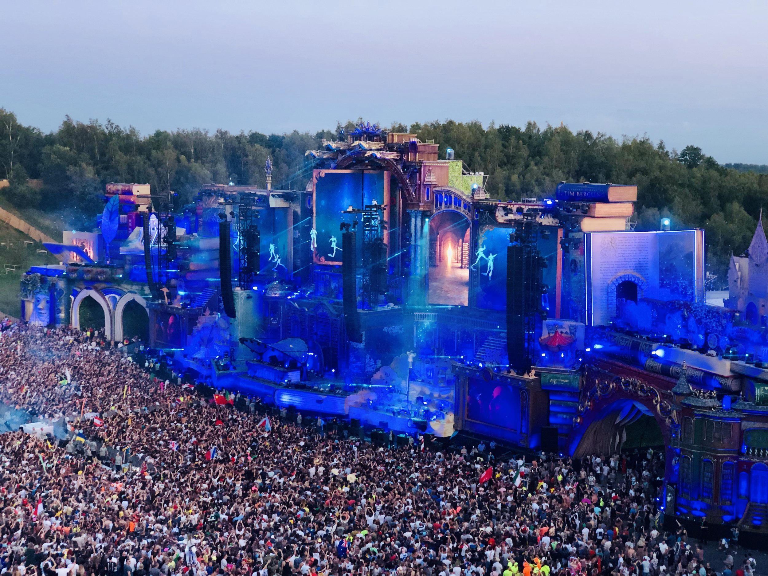 """Tomorrowland - a festival of electronic musical held in Belgium each year. """"The main stage was a library, set up with books with a strong storyline running through the festival'"""