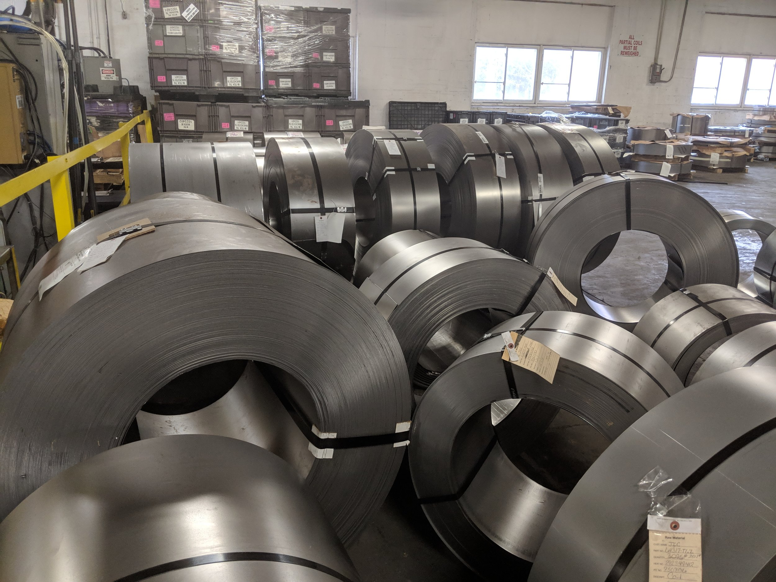Incoming steel coils ready to be stamped into parts
