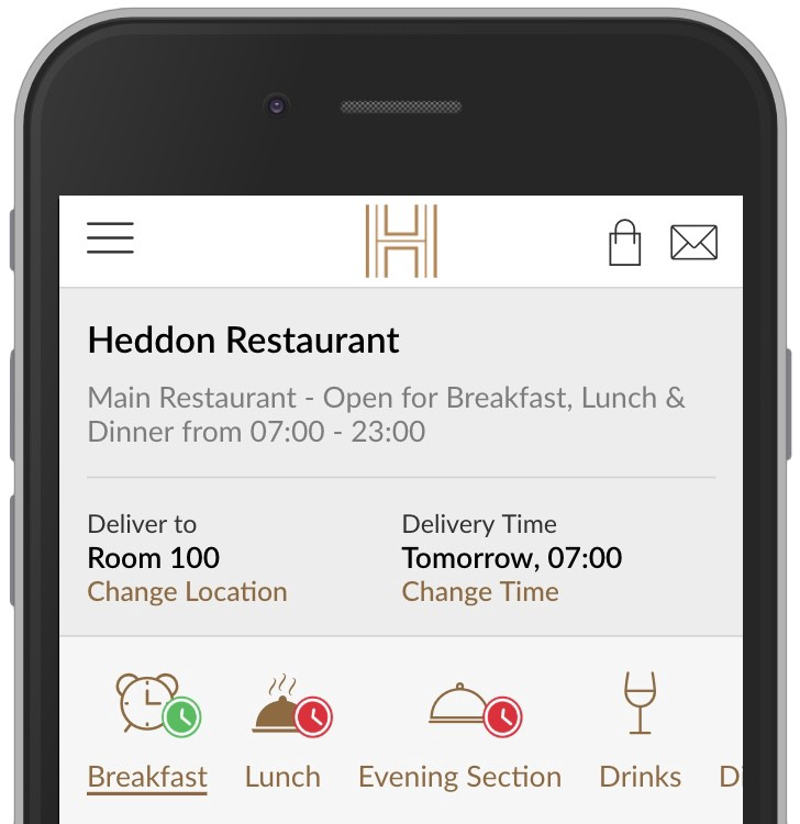 Availability Periods applied to Breakfast & Lunch, Drinks does not have one applied