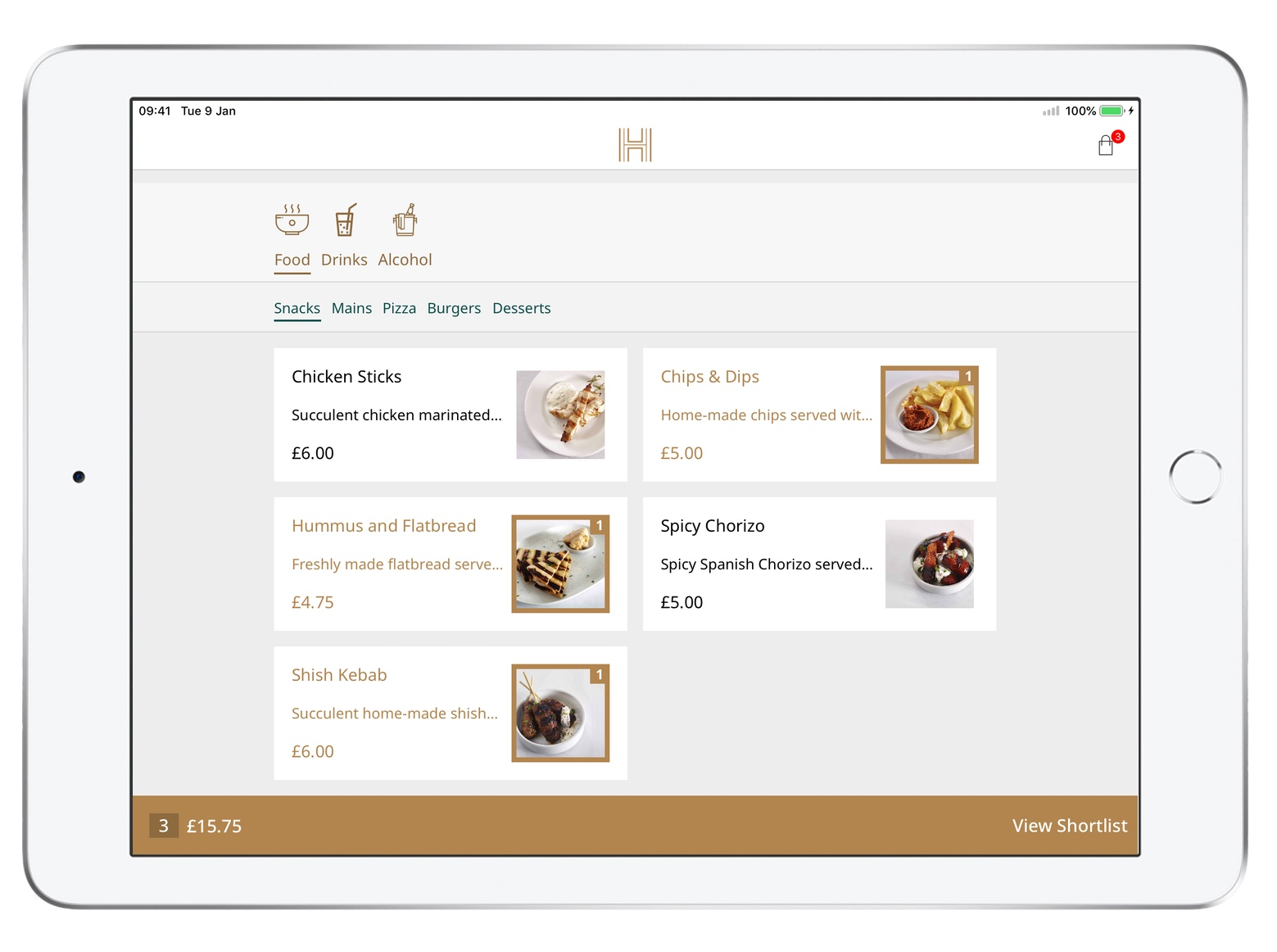 Shortlist - When 'Shortlist' is enabled, guests can add Items they want to the Shortlist without ordering, instead, your staff can assist as they would do with a traditional paper menu. A great way to keep a record of what your guest wants if you don't want to connect iRiS Guest Table to POS.
