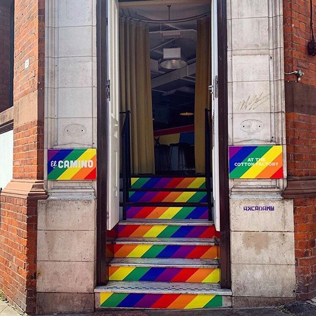 Follow the rainbow steps to taco heaven 🌮🌮🌮 #manchesterpride #pride #tacos #burritos #elcamino #mexican #mexicanfood #tortillas