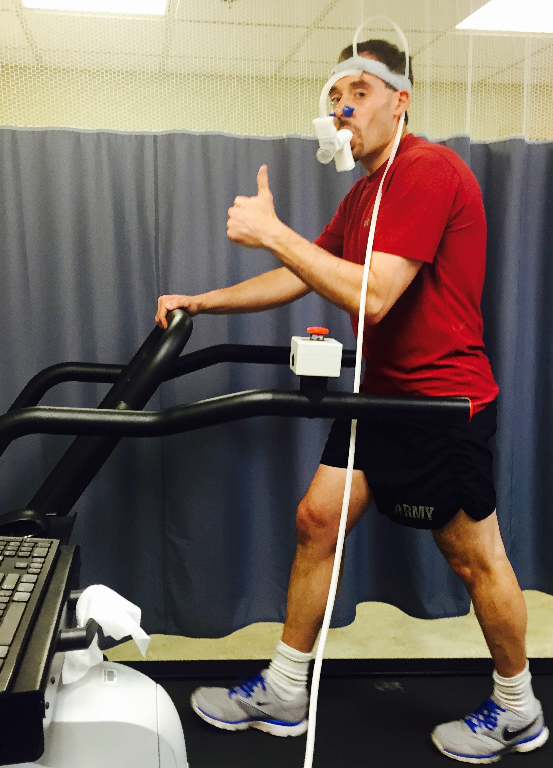 Rob having his VO2 max tested, the standard test for fitness level.