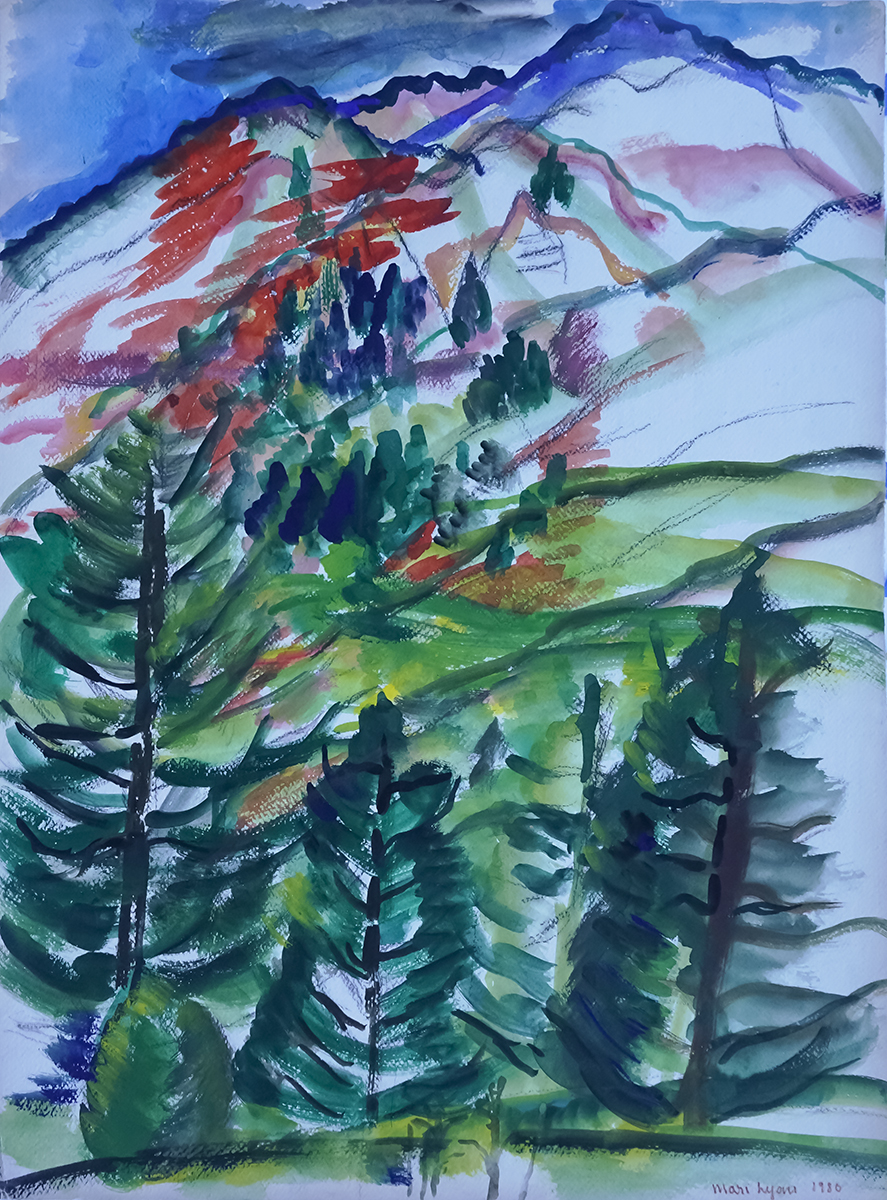 Firs Up Front 22x30 Watercolor