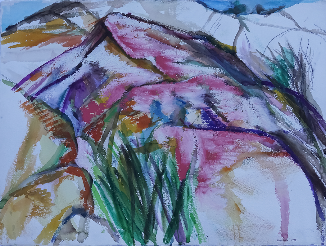 Grasses and Pink Rocks 22.5x30 Watercolor/Oil