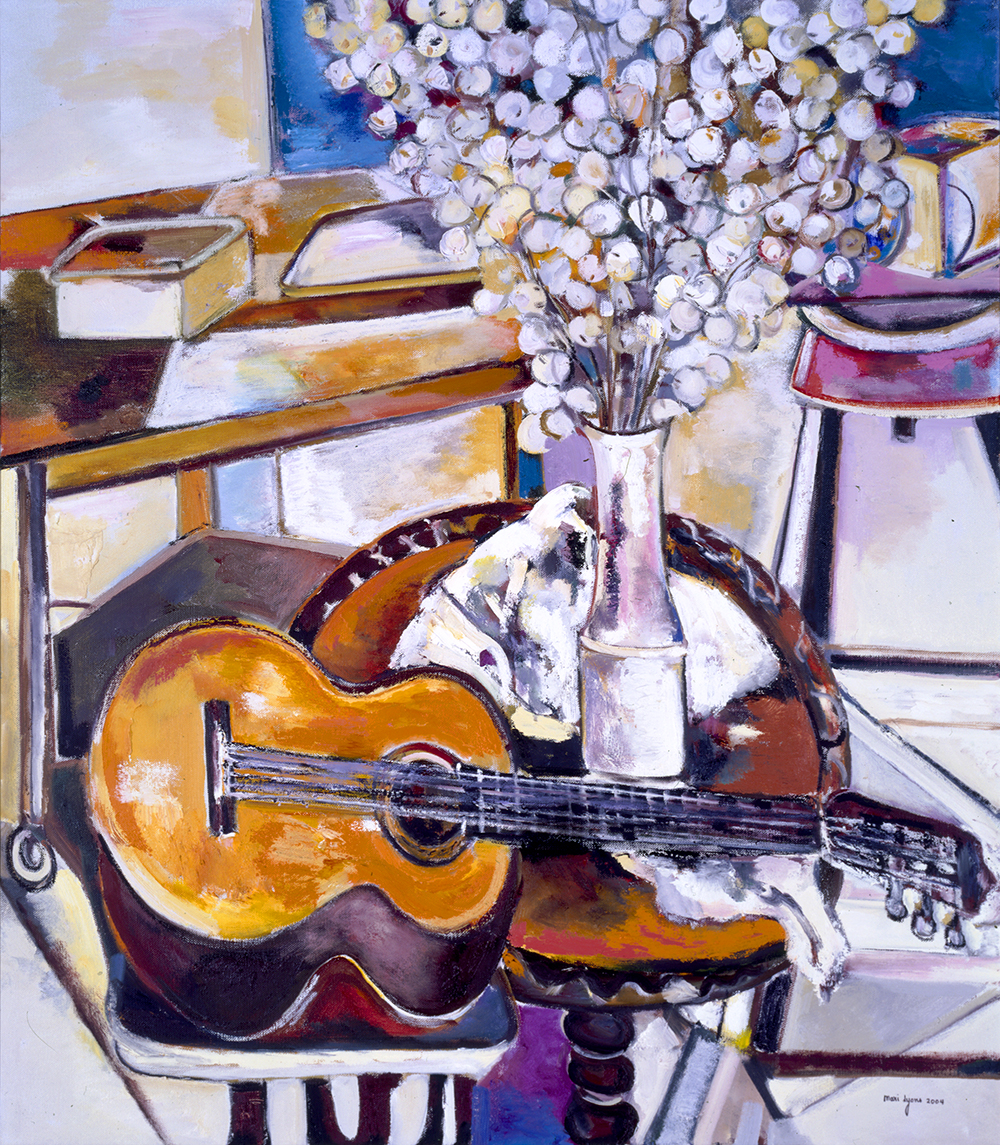 Japanese Money Plant and Guitar 56x48