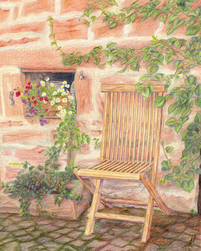 """""""TAKE A SEAT"""",  Color pencil on Bristol Paper,  8x10 inches,  IN PRIVATE COLLECTION"""