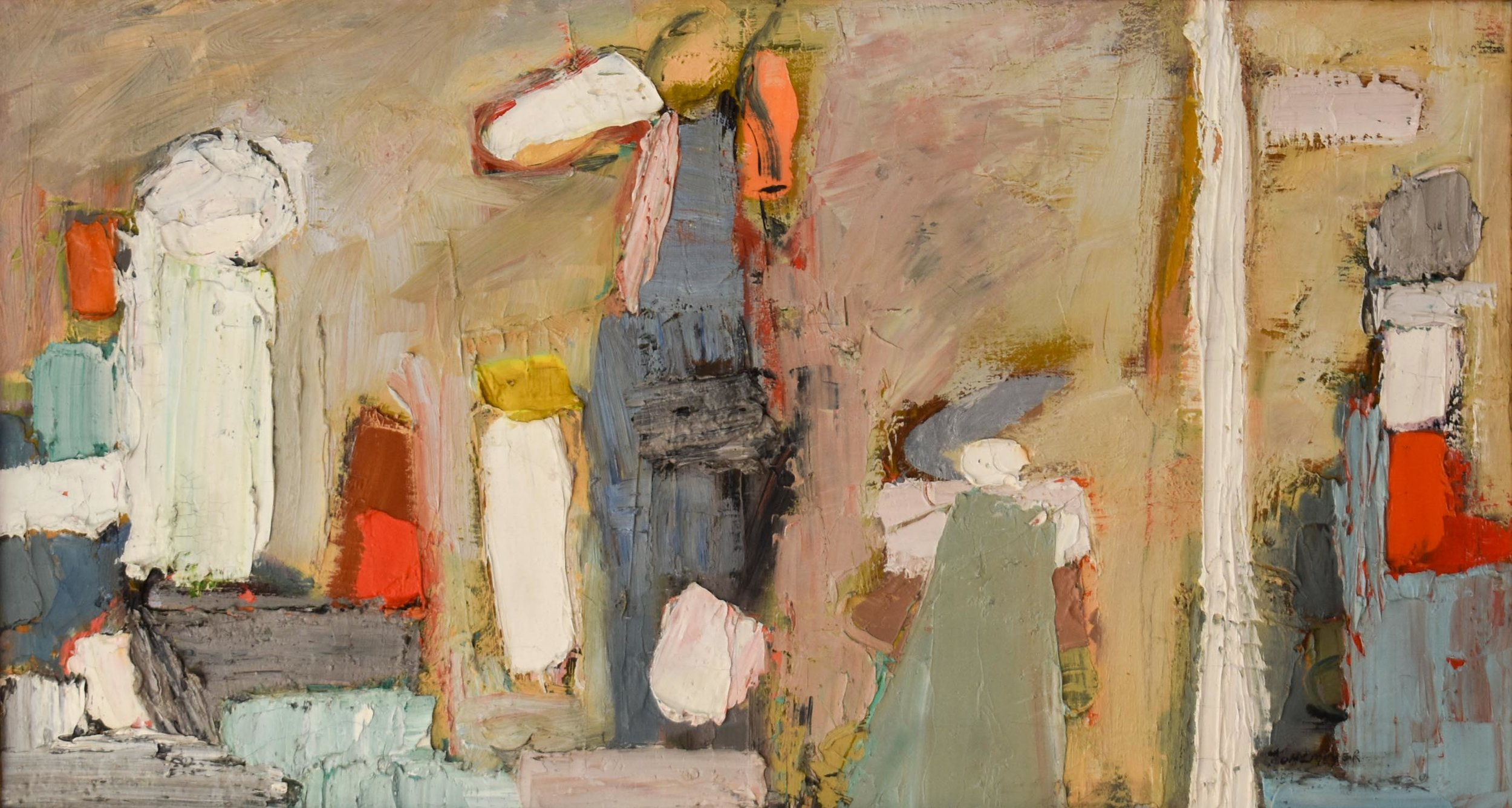 Abstract Composition , 1957 Oil on canvas, signed and dated lower right, 14 × 26 in