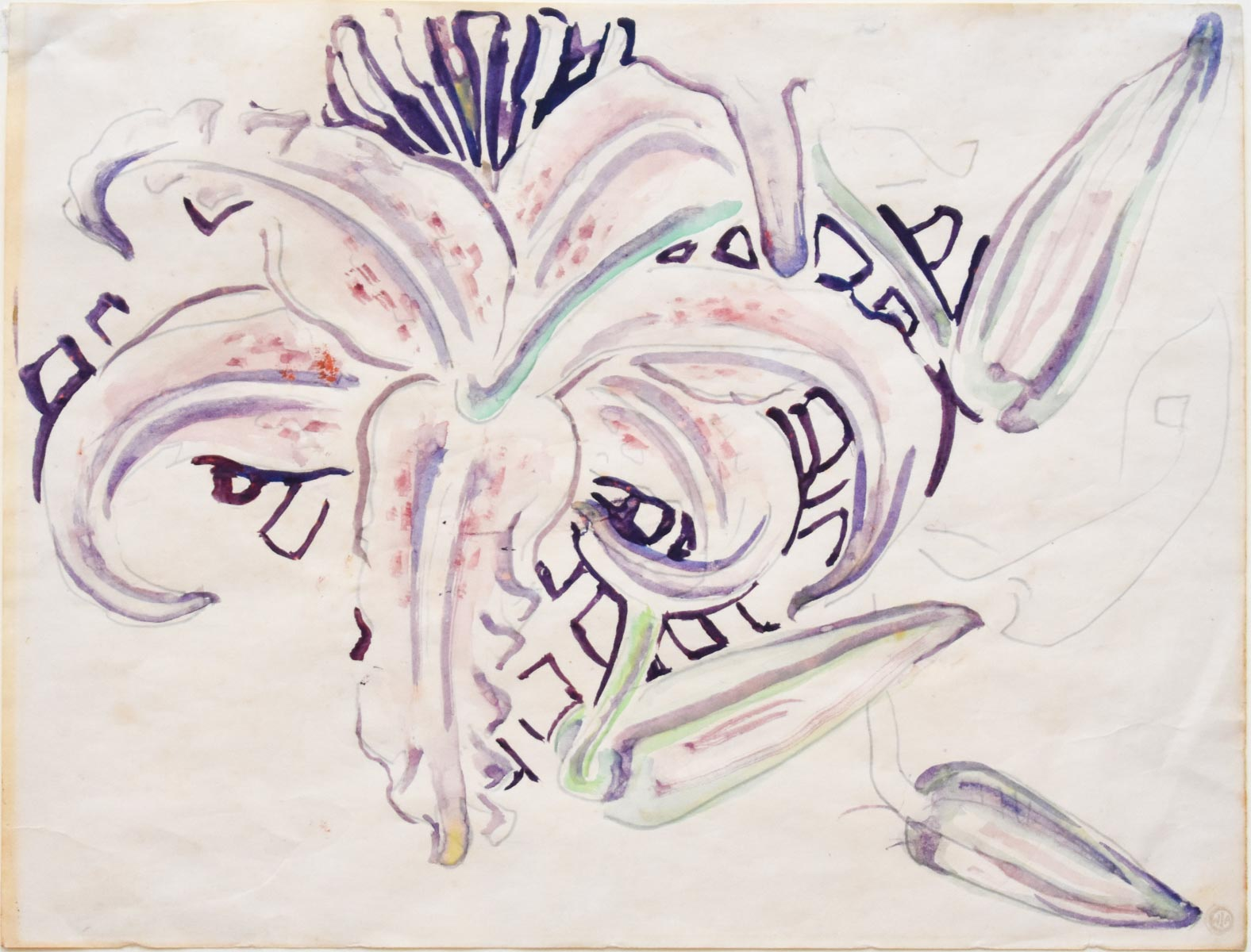 Walter Inglis Anderson(American, 1903-1965)  Tiger Lily,  c. 1960,  watercolor and pencil on paper, estate stamped lower right, titled and dated en verso, 8 3/8 x 11 in., unframed.
