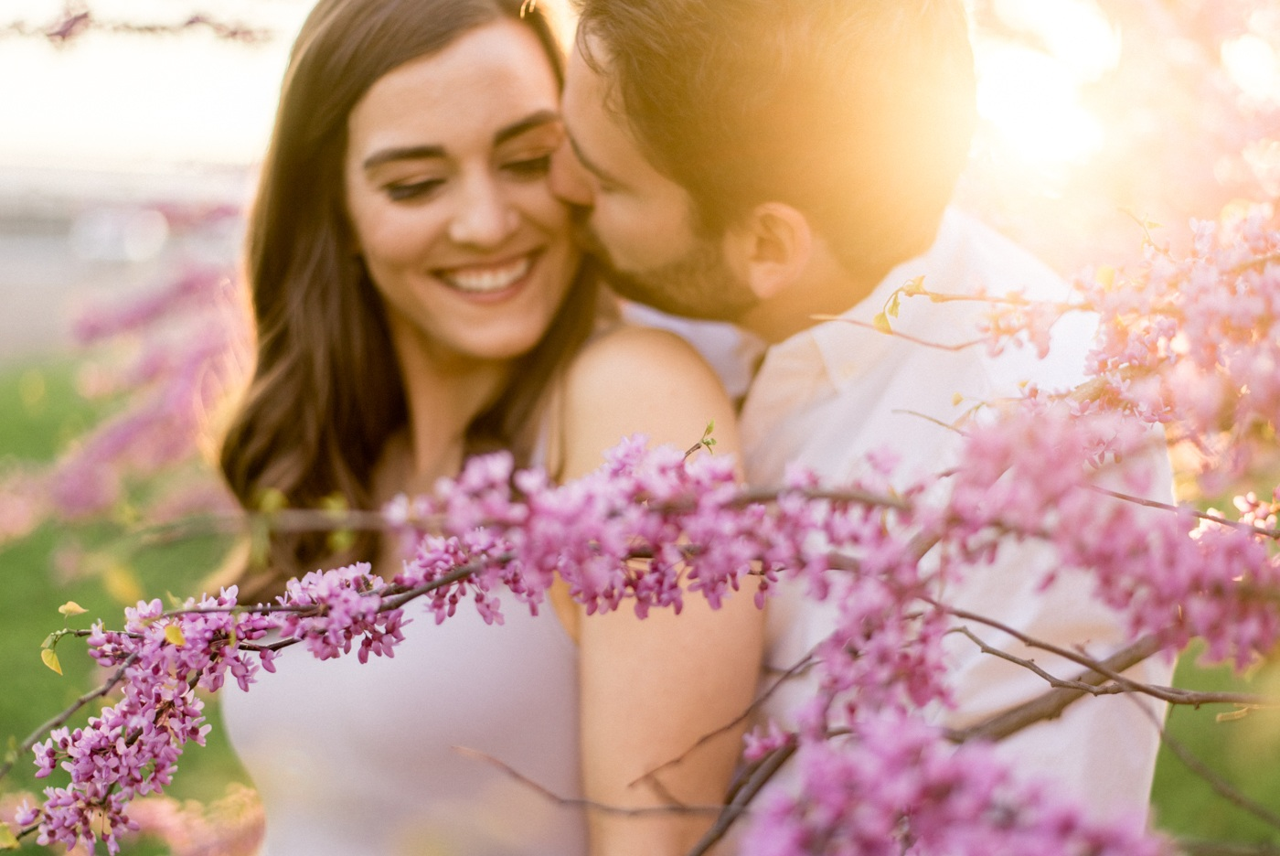 Chris & Heather's Engagement Session in Vineland Ontario with Lilacs and Cherry Blossoms