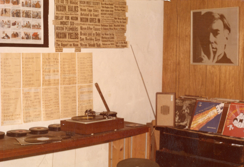 Corner of the loft with Andy Warhol's self-portrait, c. 1974.