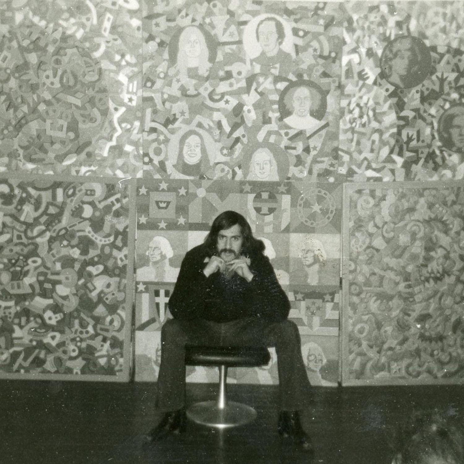 Marc H Miller in front of his paintings, c. 1972.