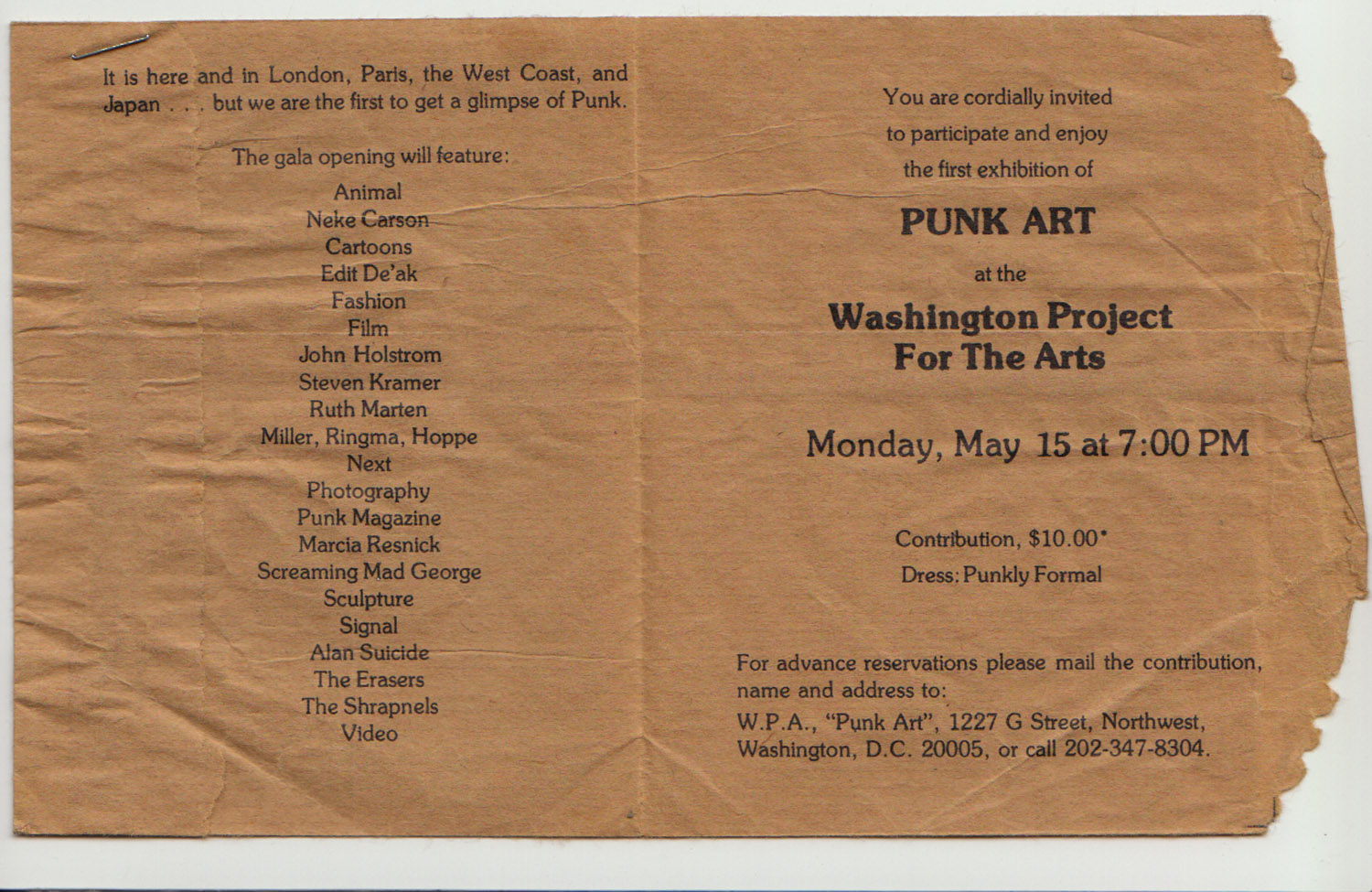 Punk Art Show invitation