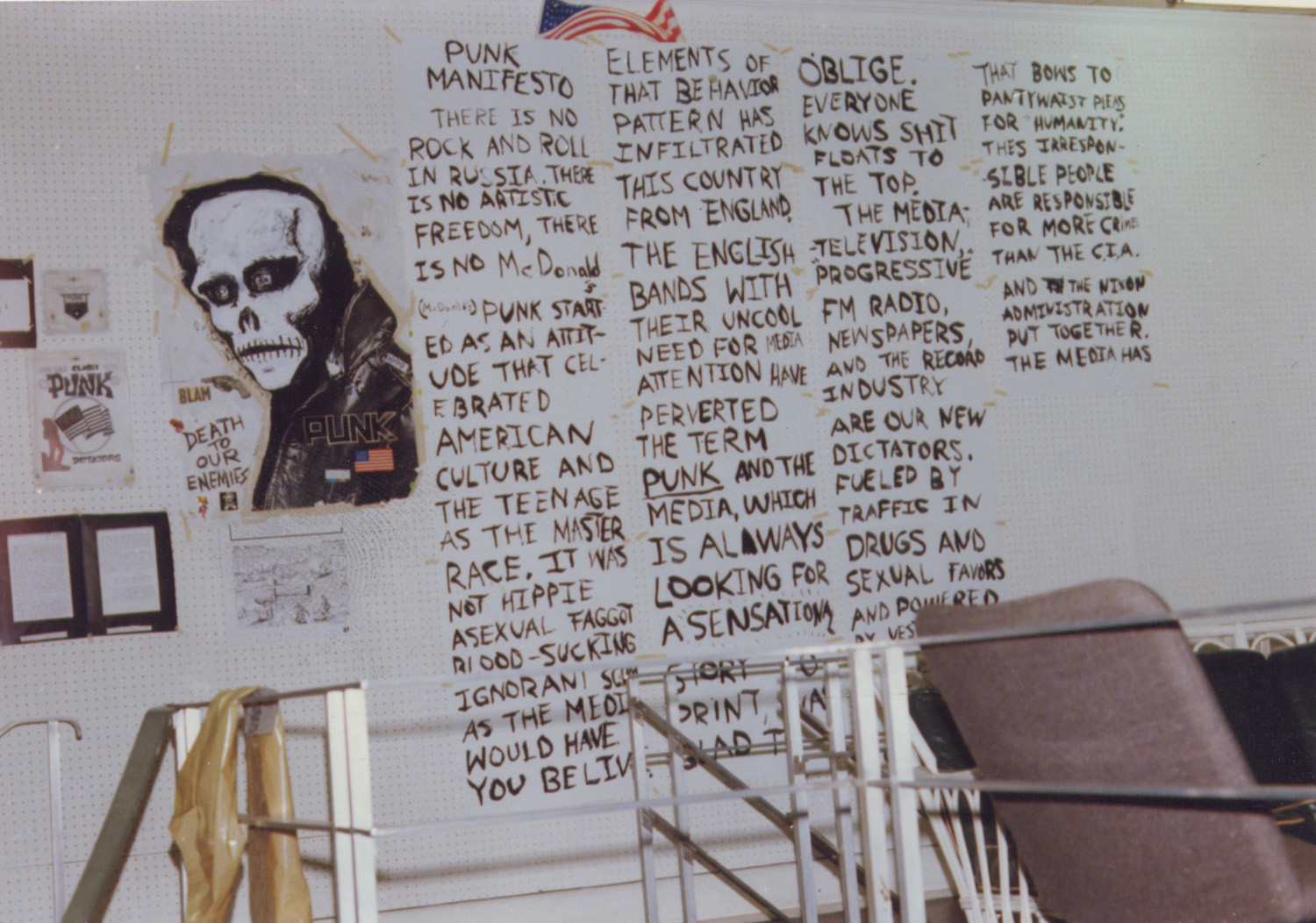 Punk manifesto by Legs McNeil of Punk Magazine of the walls of the exhibition