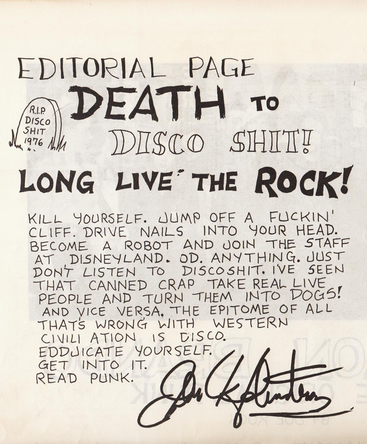 John Holstrom, Editorial from  Punk Magazine  #1, 1976