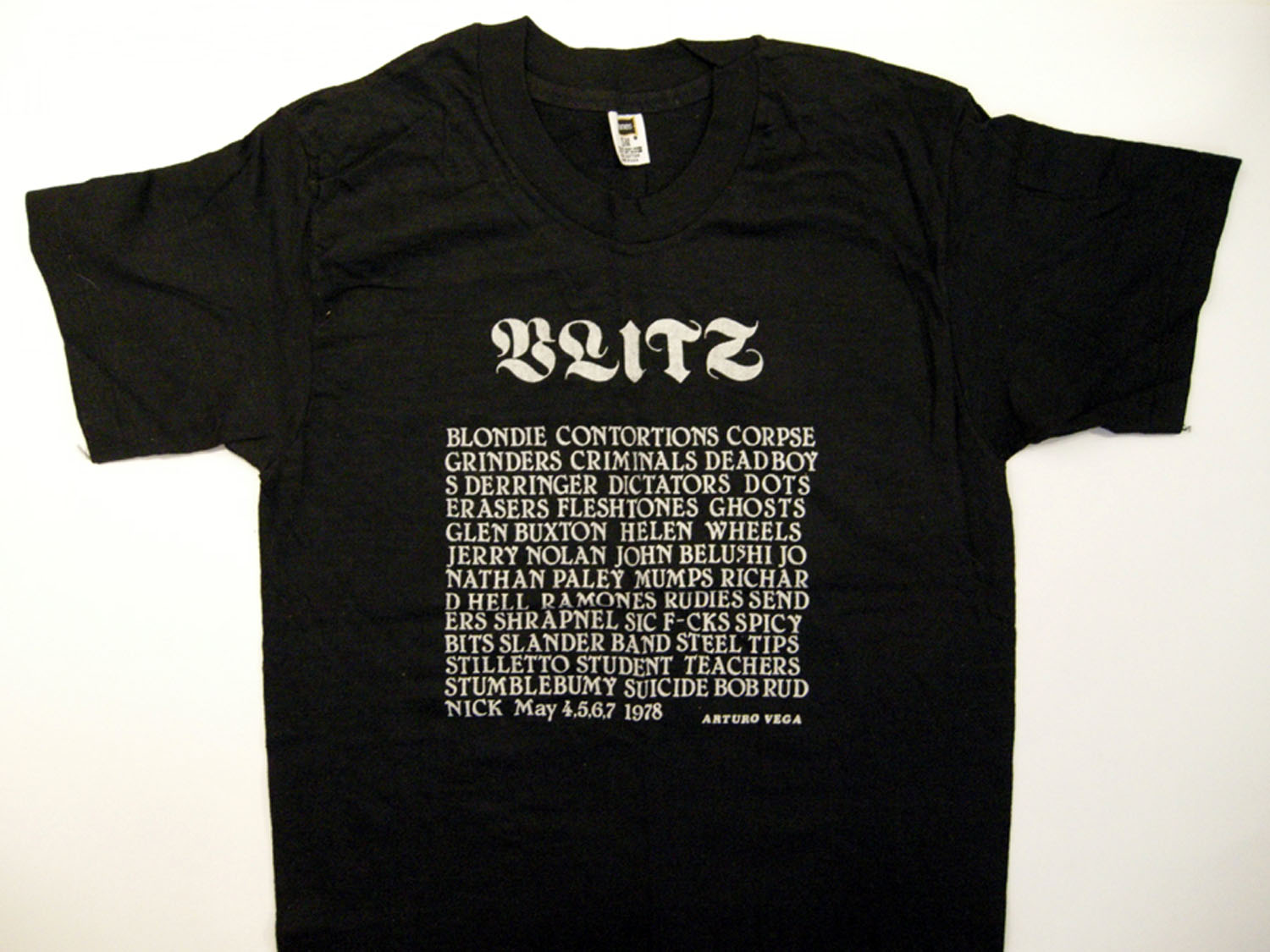 Arturo Vega, Blitz Benefit, CBGB, May 4,5,6,7, 1978, Silkscreen T-Shirt, 1978 Benefit concert T shirt to help pay the medical expenses of Johnny Blitz of the Dead Boys injured in a knife fight.