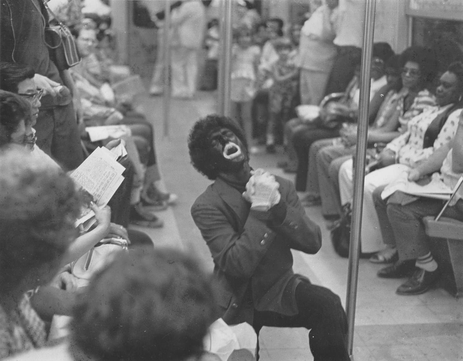 "Mitch Corber, ""Corber/Jolson goes to Harlem,"" photograph of Performance, 1974"