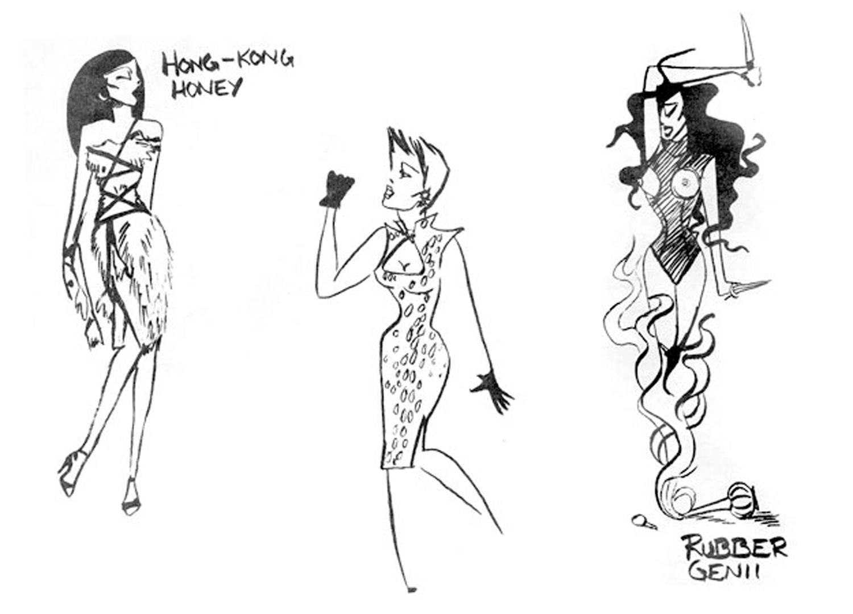 Animal X, drawings of fashion designs, c. 1978