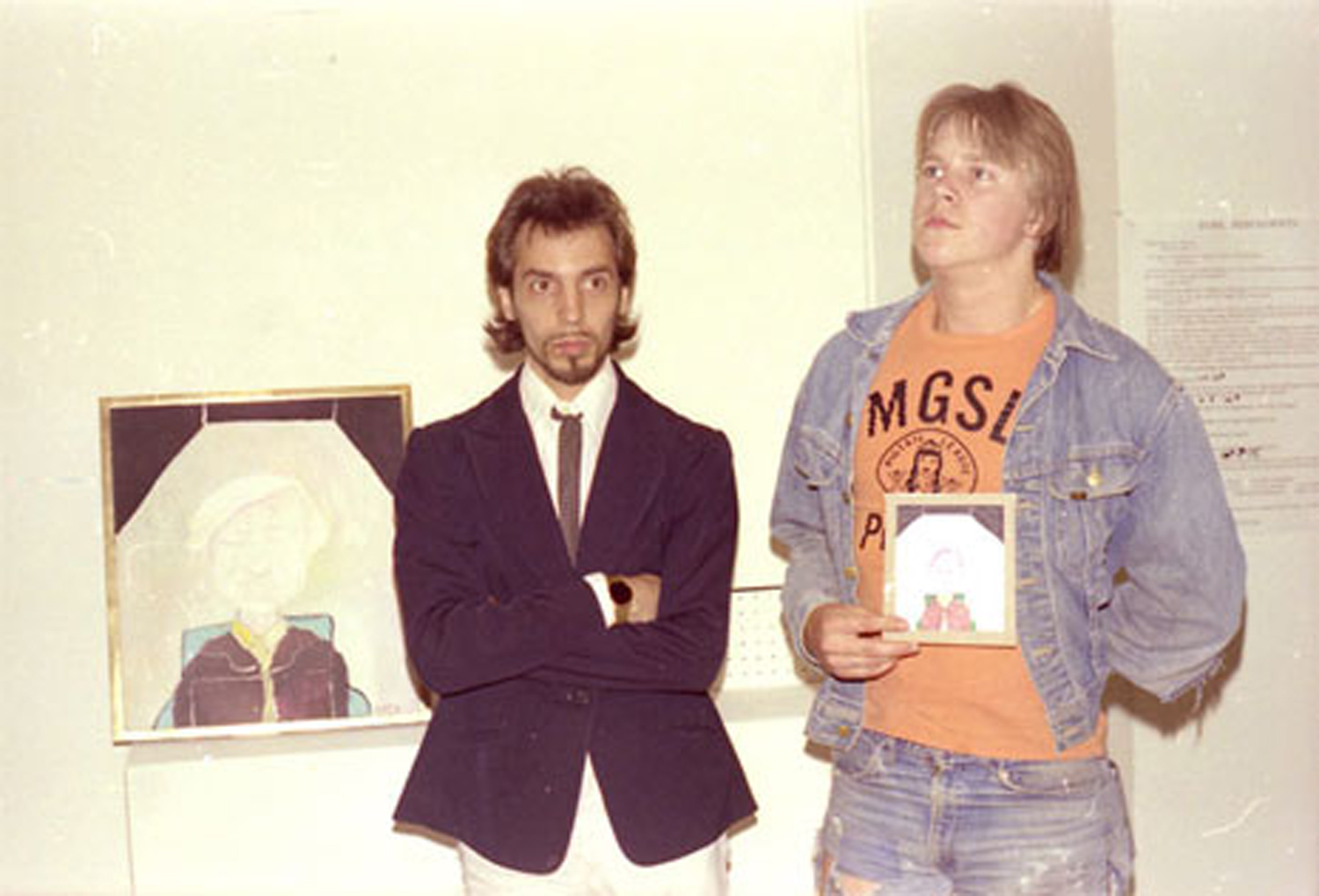 The Stolen Painting Returned. Artist Neke Carson presents a small copy of his Andy Warhol portrait to the person who stole (and then returned) the original from the Punk Art Exhibition, Washington DC, 1978.