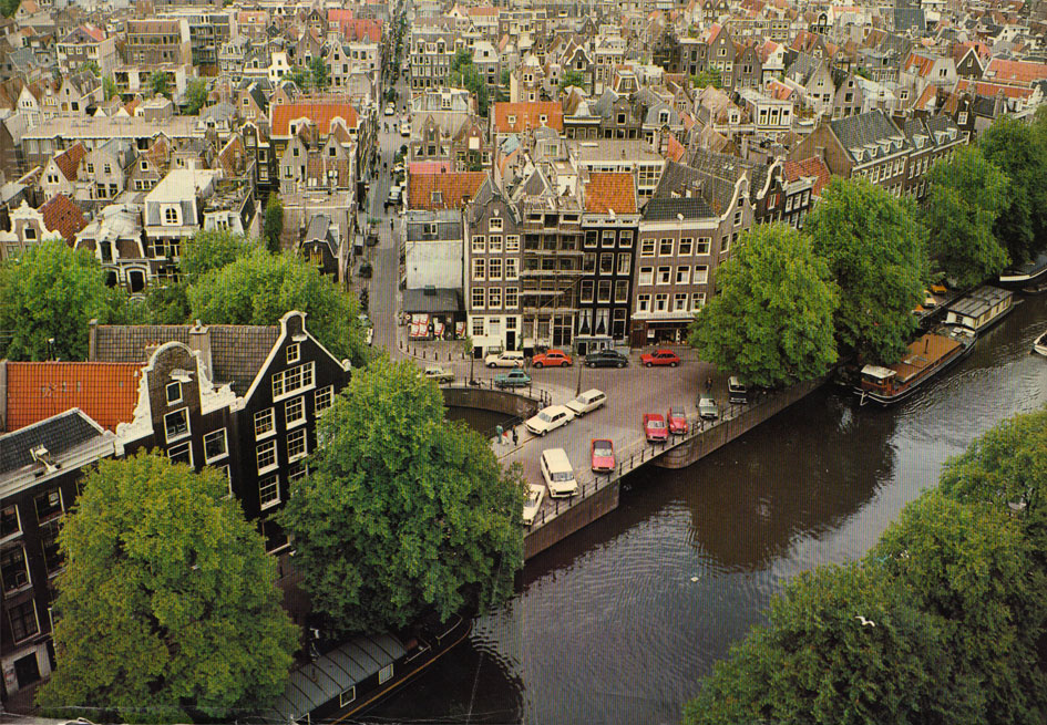 View of the Jordaan from the tower of the Westerkerk. The red boat to the right was where Bettie and I lived in Amsterdam.