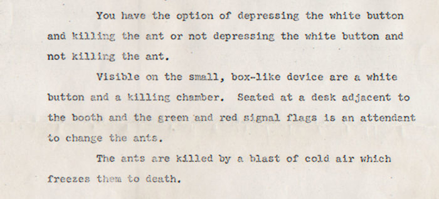 "Mike Malloy, description of the killing machine in ""Insure the Life of an Ant"", c. 1972."