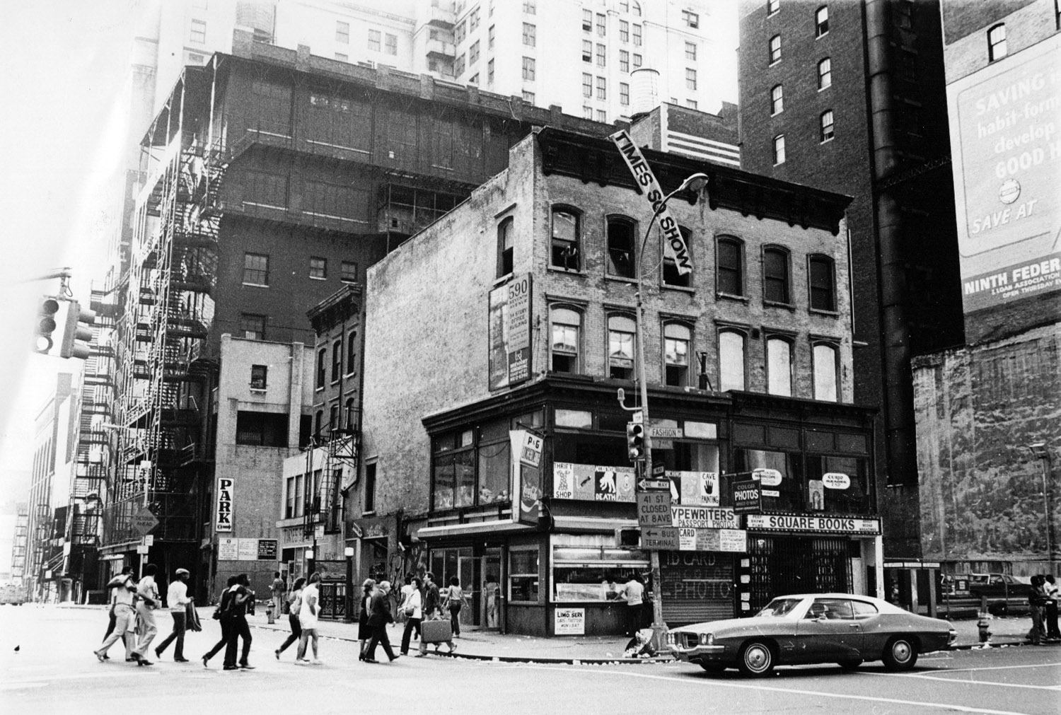 Site of the Time Square Show, an exhibition organized by Colab, 1980. Photo by Lisa Kahane