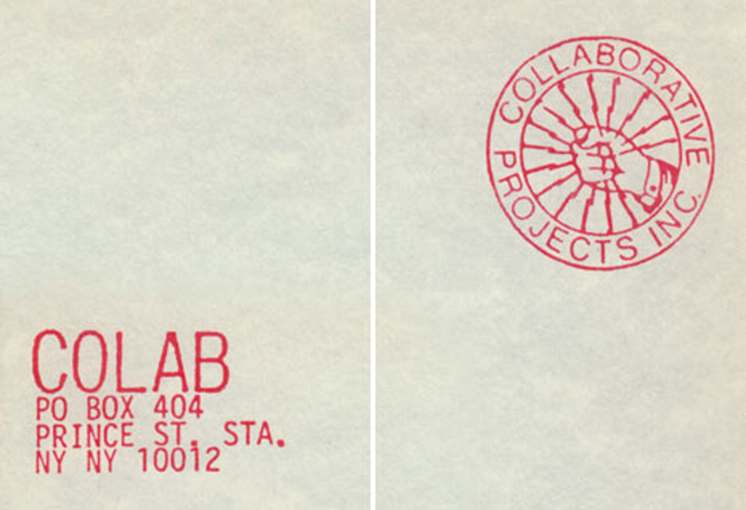 Colab Letterhead and Logo (taken from printed Stationary), c. 1985