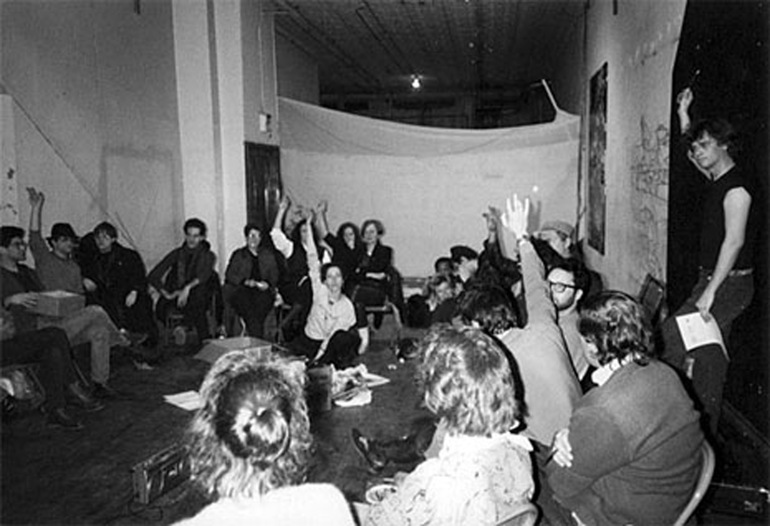 Colab Meeting at Peter Fend's Broadway Loft, 1983. Photo by Albert DiMartino