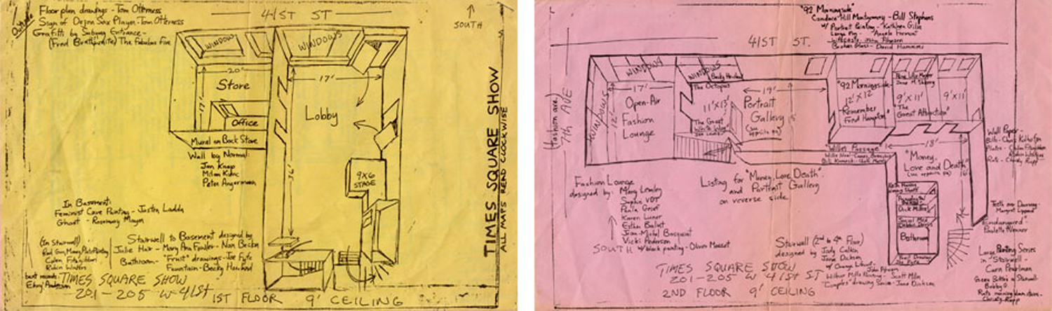 Time Square Show (organized by Colab), map of the 1st and 2nd floors with list of participating artists, 1980. Floor plan drawing by Tom Otterness, notations by John Ahearn