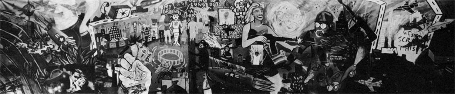 Mural America (Colab Mural #2), 5' x 24', 1981. Photo from Randolph Street Gallery, Chicago