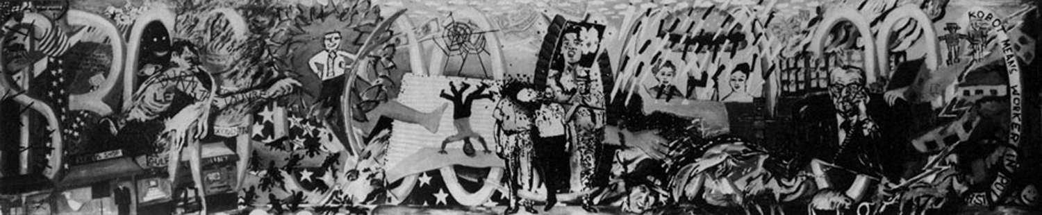 """Three Hundred Billion Dollars"" (Colab mural #1), 5' x 24', 1981. Photo from Randolph Street Gallery, Chicago"