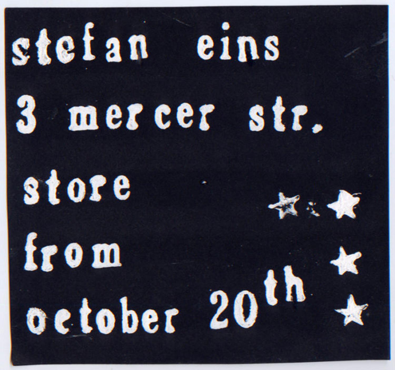 3 Mercer St. Store, Stefan Eins, A Photostat Sign, c. 1975