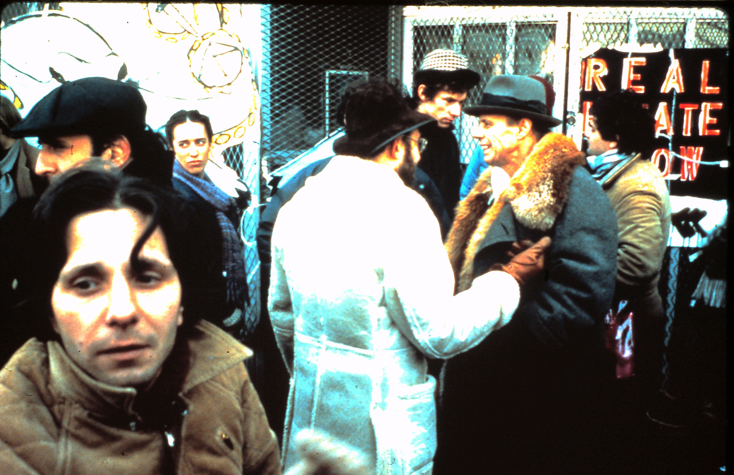German artist Joseph Beuys (second from right) outside the locked-up Real Estate Show. Photo by Barbara Brooks