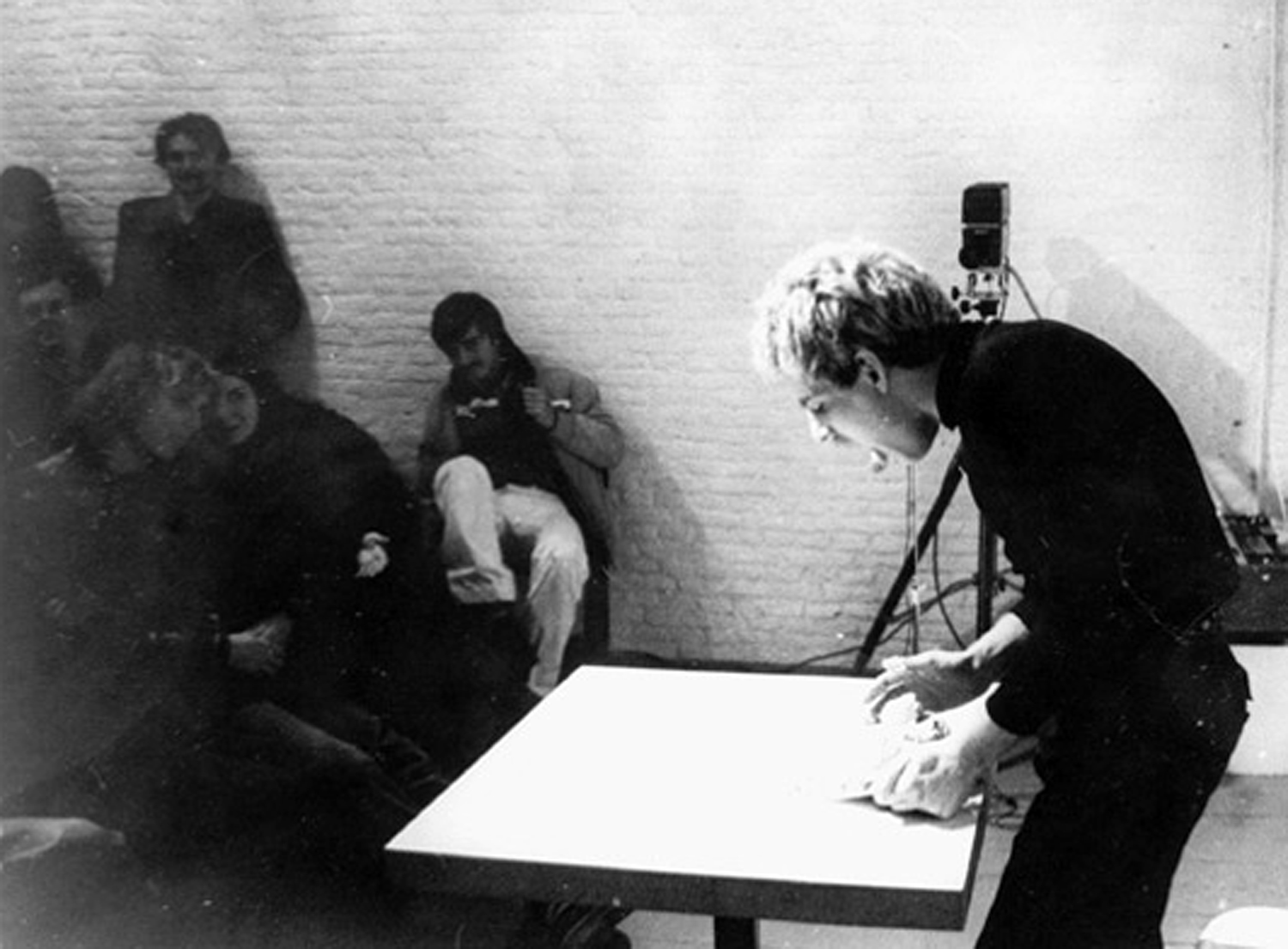 "Gerard Pas in the Performance ""Kunstledem aten,"" at De Appel, Amsterdam, 1978"