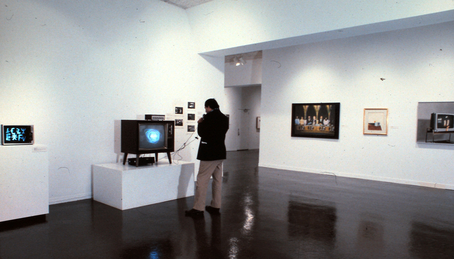 Left to right: Isidore Isou, Ragged Television; Nam June Paik, Participation T.V.; Peter Moore, Photo Documentation; unidentified; unidentified; Robert Bechtle, Zenith.