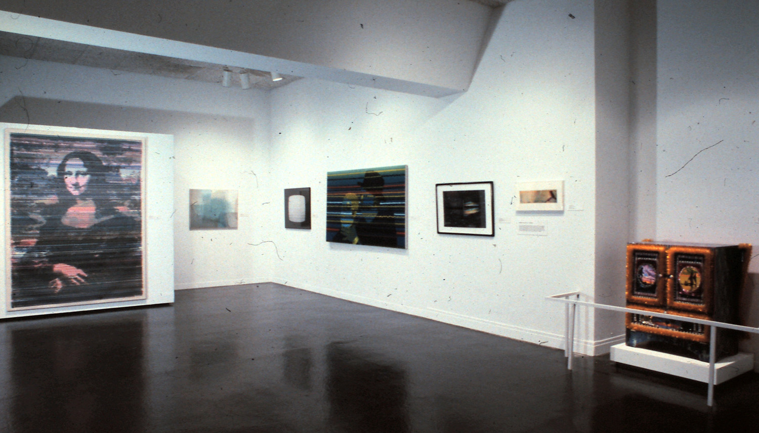 Left to right: Anton Perich, Mona Lisa; Keith Sonnier, Video Still Screen II; Lewis Stein, Untitled (T.V. Light); Ed Paschke, Strangulita; Alastair Noble, Divided Presence; unidentified; Rhonda Zwillinger, Turned On.