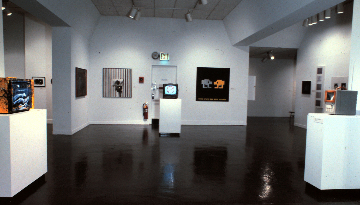 Left to right: Keiko Bonk, Moonlight Love; Lewis Stein, Surveillance; John Fekner, Tarred T.V.; John Fekner and Don Leicht, Your Space Is Being Invaded; Edward and Nancy Reddin Kienholz, The Block Head.