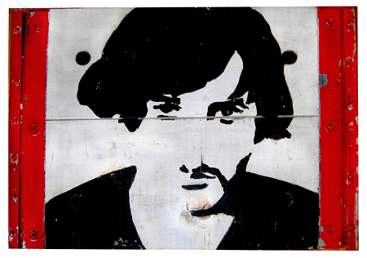"Marc, enamel paint on wooden box with metal edge, 10"" x 16.5"", c. 1969"