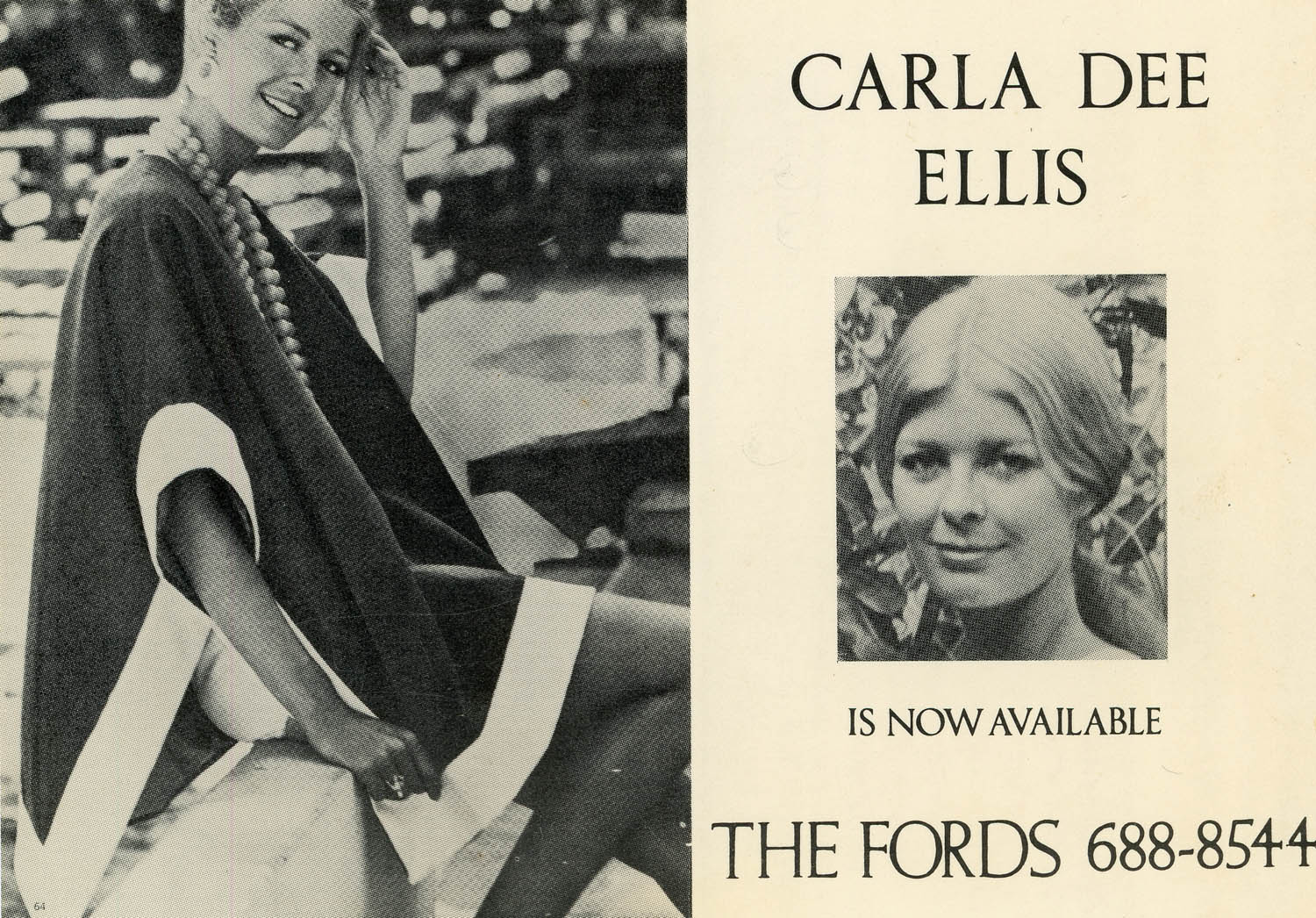 Ford Modeling Agency postcard for Carla, c. 1971.