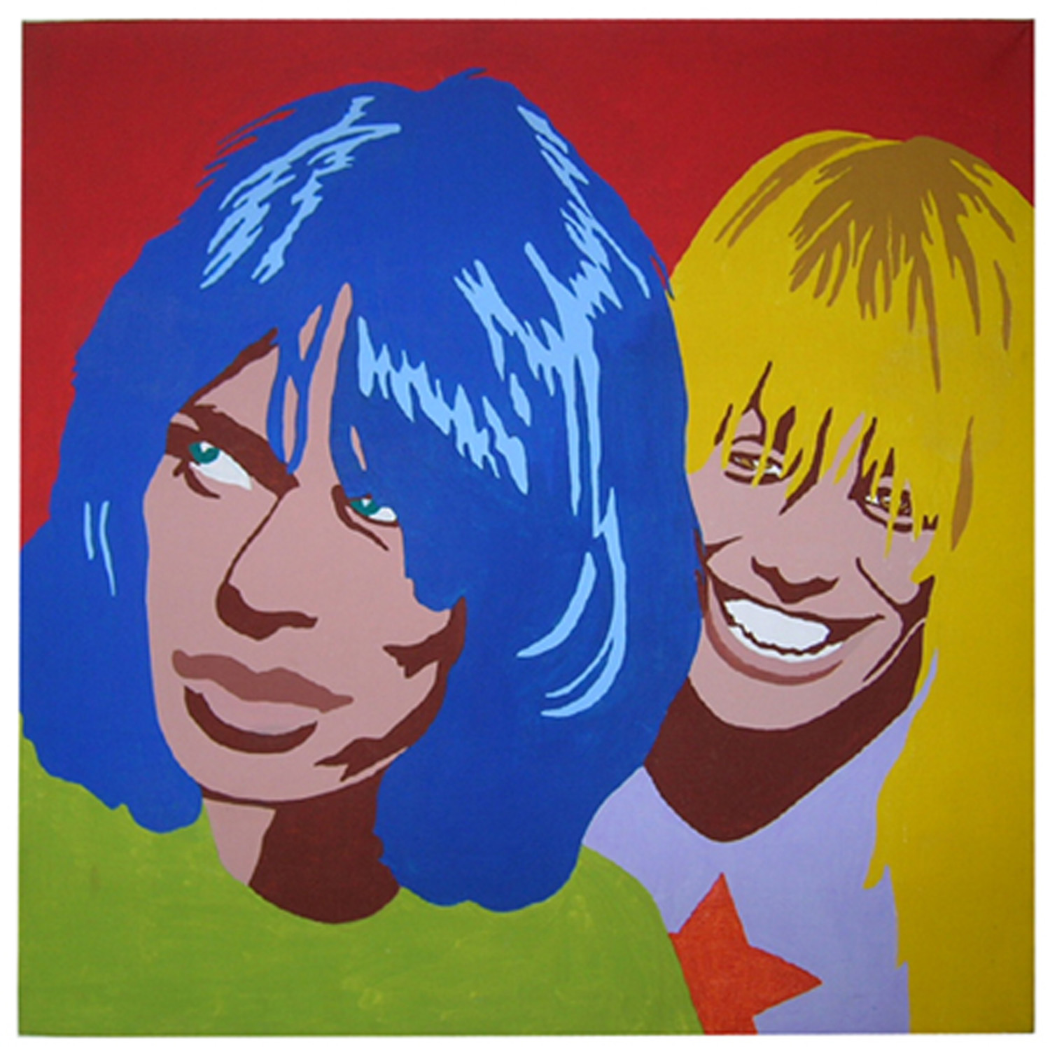 "Carla Dee Ellis, ""Mick Jagger and Marianne Faithful,"" acrylic on canvas, 48"" x 48"", c. 1971"