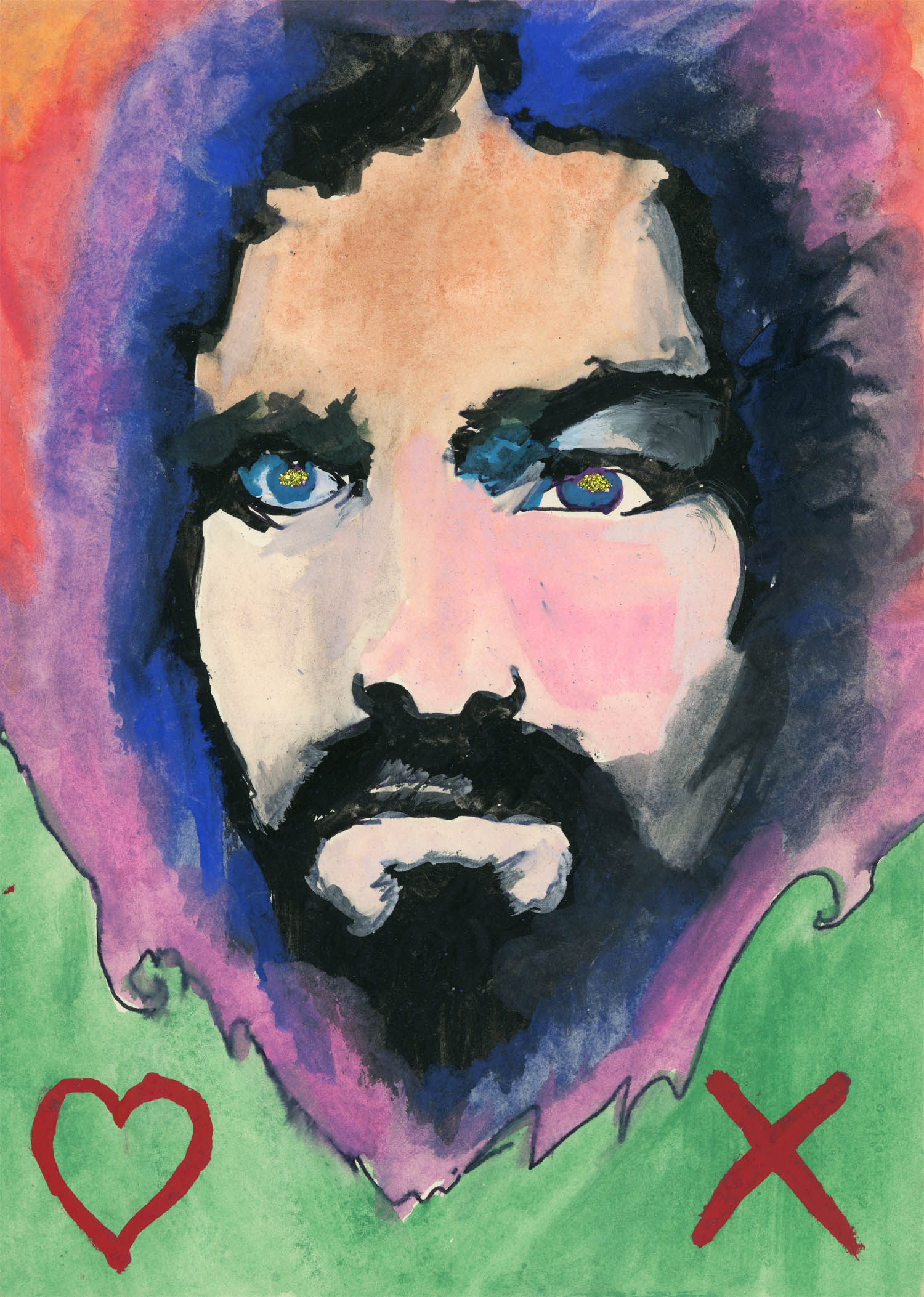 "Carla Dee Ellis, ""Charles Manson"", Watercolor, Ink and Glitter, c. 1972."