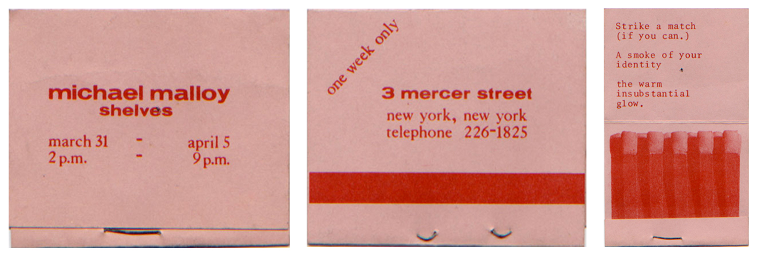 "Front back and inside of Mike Malloy's invitation card for ""Shelves"" at 3 Mercer Street."